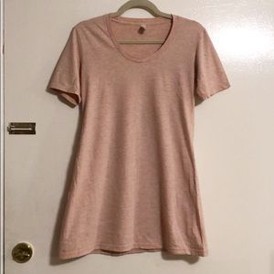 American Apparel Pink Heather Scoop Neck Long Tee